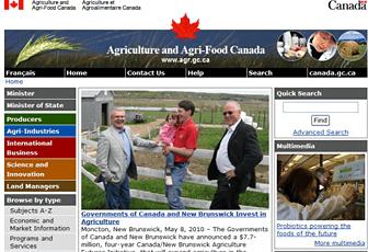 カナダ農業食料省のホームページ